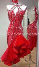 Competition Ballroom Latin Cha Cha Ramba US 12 Dance Dress#L2120 Beads fringes