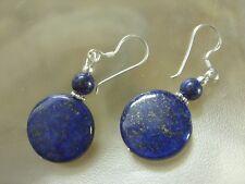 Designer aretes ohrhänger verdadero lapis lazuli 20 mm button 925 plata ohrhaken