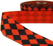 """5 Yd Halloween Orange Black Jester Grosgrain Ribbon 1.5""""W"""