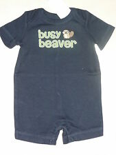 Gymboree SMART LITTLE GUY Navy Blue Shortie Romper Busy Beaver NWT 0-3 Baby Boy