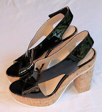 CALVIN KLEIN Women BLACK PATENT LEATHER OPEN TOE 5 INCH WEDGE  NEW  Size 6  $139