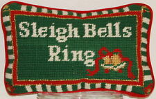"""Sleigh Bells Ring Hand Stitched Needlepoint Pillow Christmas Holiday 5.5"""" x 8.5"""""""