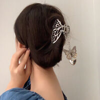 Vintage Long Tassel Butterfly Metal Hair Claw Love Pendant Crab Clip Women Acces