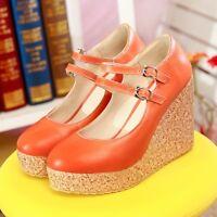 Ladies Wedge High Heel Women's Wedge Platform Shoes Sandals Mary Jane Plus Size