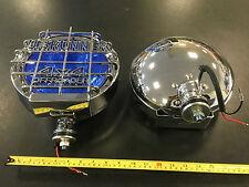 "9"" Chrome Spot Lights Spotlights 12v 4x4 OFFROAD U.S Runner Xenon Look Blue Lens"