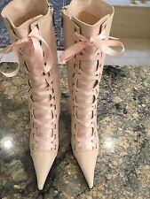 NWOB Pink Auth. NANDO MUZI Leather Victorian Renaissance Lace Up Boots 10 40