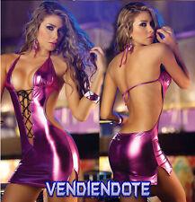 Lenceria Sexy Ropa intima Sensual Vestido Ajustado Purpura Disco Envio España