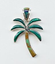 ADORABLE HANDMADE .925 SILVER PALM TREE PENDANT IN TURQUOISE/MULTI STONE INLAY