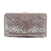 CLEOBELLA Mexicana antiqued metallic silver hand tooled leather clutch wallet