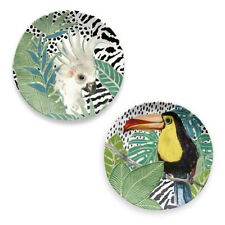 Epicurean Cockatoo and Toucan Side Plate Set of 2 Melamine Plastic Picnicware
