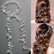 Luxury Wedding Hair Accessories Long Bridal Head Chain Pearl Headbands Jewelry