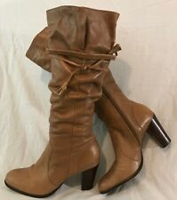 Next Light Brown Knee High Leather Lovely Boots Size 6 (884v)