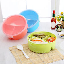 Round Portable Microwave Lunch Box Picnic Bento Food Container Storage+Spoon NEW