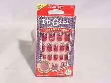 IT GIRL NAILS PRESS & GO PRE-GLUE 20 NAIL #D219 PINK AND WHITE W/ LEOPARD PRINT