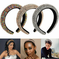 Women Rhinestone Padded Headband Wide Bejewelled Statement Hair Band Accessories