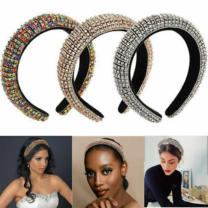 Women Rhinestone Padded Headband Wide Bejewelled Statement Hair Band Accessories