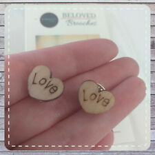 Wooden Pin Badge 2 Pack Environmentally Friendly  Beloved Brooches Heart Love UK