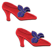 Red Hat Society - Shoe - Shoes - Red & Purple - Iron On Applique Patches - Pair