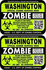 Prosticker 1257 Two 3 X4 Washington Zombie Hunting License Decals Sticker