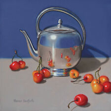 DANFORTH Teapot With Cherries 8x8 still life realistic oil painting, fruit