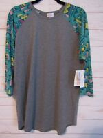 Lularoe Women's Randy Gray with Teal Sleeves Top Size XL NWT