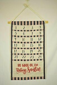 Primitives by Kathy - I'm Texting Santa Canvas Hanging Christmas Advent Calendar
