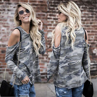 Womens Lady Camouflage Long Sleeve T-Shirts Cold Shoulder Casual Loose Tees Tops