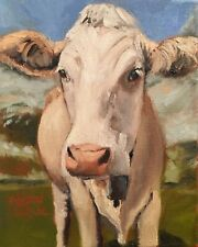 Norma Wilson Original Oil Brown Swiss Cow Cattle Portrait  Animal Painting Art