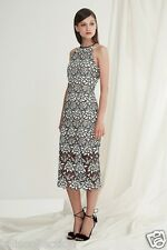 Keepsake True Love Midi Dress with All Over Black & White Lace Overlay KS-0502