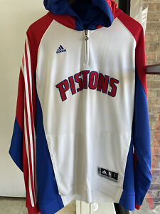 Adidas Clima365 NBA Detroit Pistons 1/4 Zip Pullover Hoodie, Size L.