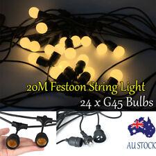 20M Outdoor LED Festoon String Lights Waterproof E27 G45 1.5W Retro Edison Bulbs