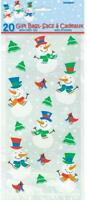 Pack of 20 SNOWMAN GLEE Cello Cellophane Party Sweet Cookie Christmas Bags