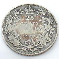 1920 Canada 25 Twenty Five Cents Quarter Silver King George V Canadian Coin G731
