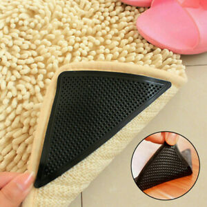4Pcs Black Rug Grippers Stopper Anti Slip Rubber Corner Mat Washable Carpets Pad