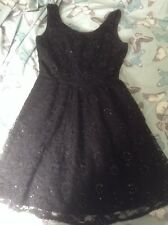 TOP SHOP BLACK LACE DRESS WITH SEQUINS, HARDLY WORN, SIZE 8