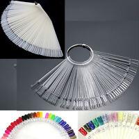Nail Art 50 False Display Fan Wheel Polish Practice Tip Sticks Design Decor Sets