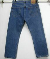 LEVI'S CLASSIC MENS 501 BUTTON FLY COTTON STRAIGHT LEG MEDIUM BLUE JEANS W36 L30