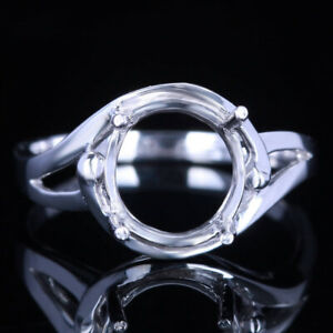 Sterling Silver Round Cut 9mm Pave Settting Semi Mount Solitaire Engagement Ring