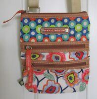 Lilly Bloom Crossbody Purse Dual Multi Zipper Shoulder Bag Adjustable Poppy Dot