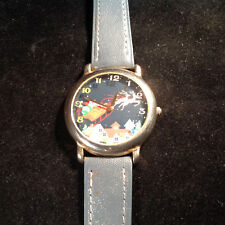 "Christmas Santa Watch Round Face Stainless Steel Gray Leather Strap 9"" Long"