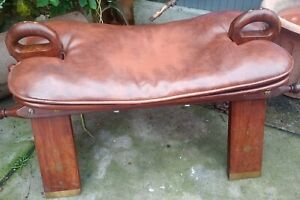 Reproduction Arabic Faux Leather Camel Foot Stool