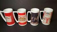 Lot of 4 BUD Budweiser Beer Thermo-Serv Insulated Plastic Mug Stein 16oz VINTAGE