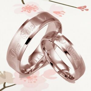 His and Her Beveled Edge Rose Gold Matte Personalized Titanium Wedding Rings Set