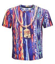 Retro Hip Hop colorido Disfraz De Cadena De Oro T-Shirt Tee Vestido Elegante Hip Hop ()