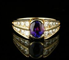 RARE FINE SIGNED NATURAL 2.20ctw COLOR CHANGING SPINEL & DIAMOND 14K GOLD RING