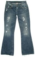 Silver Brand Womens Jeans Aiko Distressed Flare Cotton Blue Denim Size 28