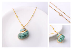 Schneckenhaus Chain + Pendant Sea Real Shells Shell Necklace Green Gold