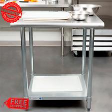 "30"" x 30"" Stainless Steel Work Prep Table Undershelf Restaurant Backsplash Nsf"