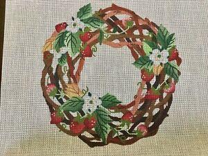 Dede Needlepoint Handpainted Canvas Strawberry Wreath