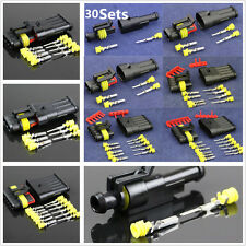 30Set Sealed Waterproof Motorcycle 1 2 3 4 5 6Pin Electrical Wire Connector Plug